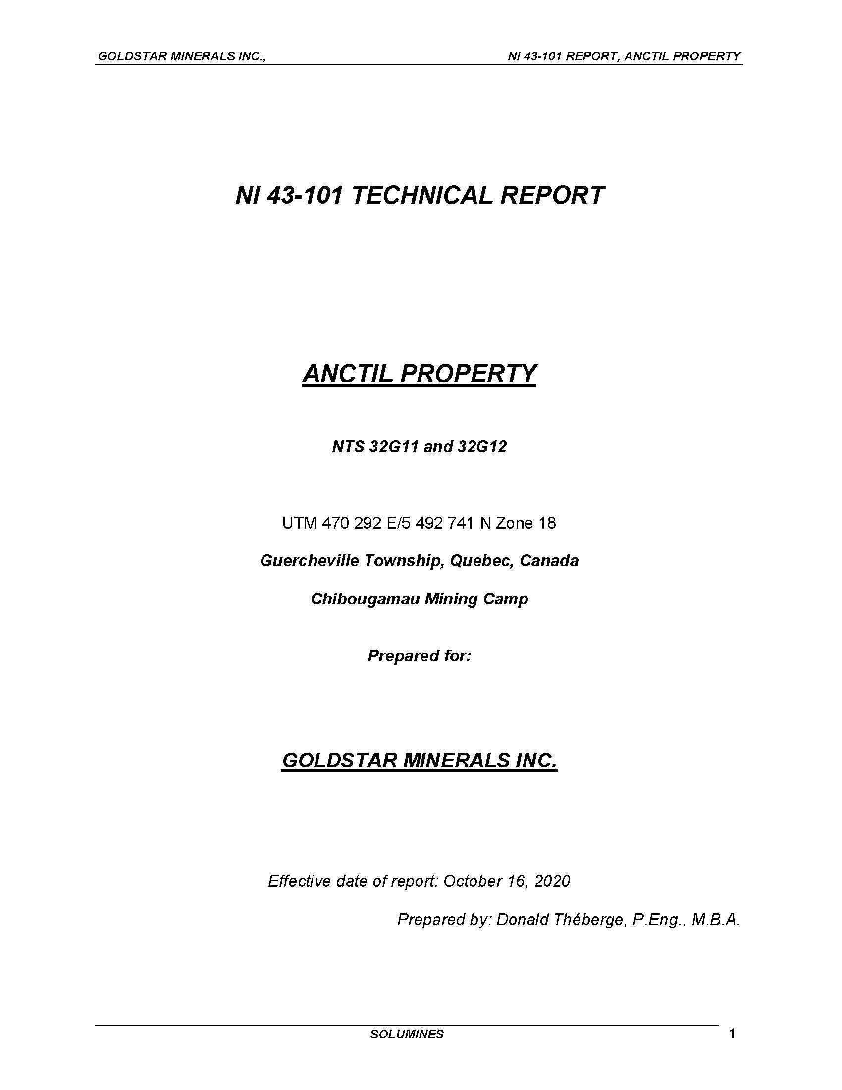 Anctil 43-101 Technical Report